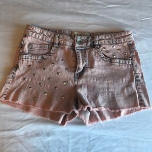 Distressed Pink Studded Denim Shorts